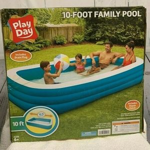 Play Day Rectangular Inflatable Family 10ft Pool,